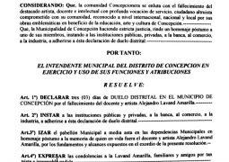 """RESOLUCIÓN I.M. Nº 785 /2019- """"POR LA QUE SE DECLARA TRES (03) DIAS DE  DUELO DISTRITAL EN EL MUNICIPIO DE CONCEPCIÓN POR EL FALLECIMIENTO DEL DOCENTE Y ARTISTA ALEJANDRO LAVAND AMARILLA""""."""